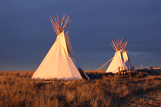 Tipis on display at the Sand Creek Massacre National Historic Site in Kiowa County, Colorado. Photo by Jeanne Sorensen.