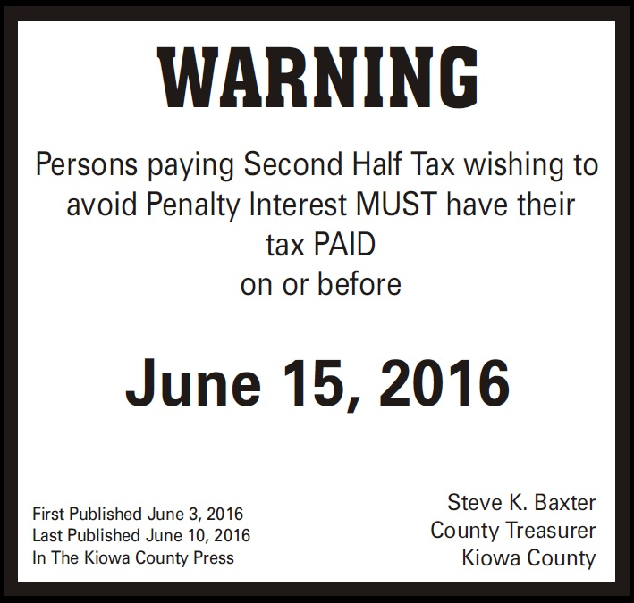 Treasurer's Second Half Tax Warning