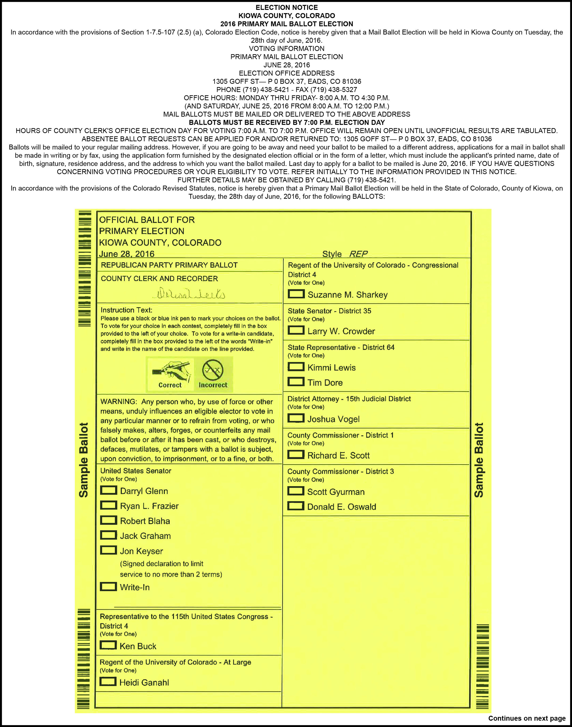 2016 Primary Election Ballot