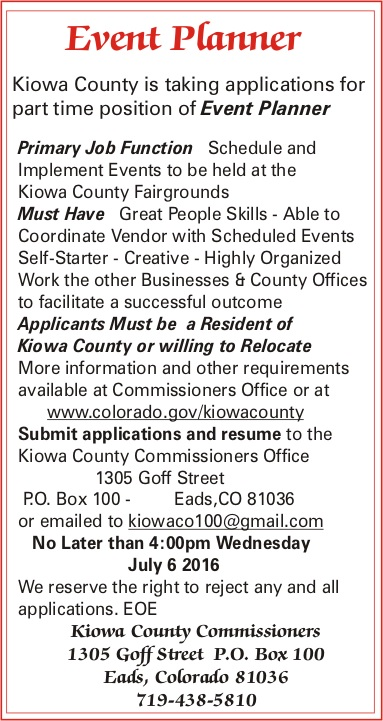 Help Wanted - Kiowa County Event Planner