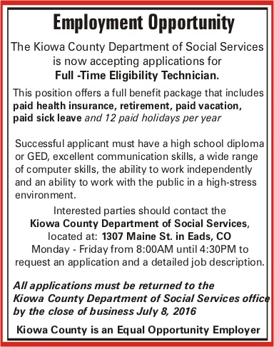 Employment Opportunity - Kiowa County DSS