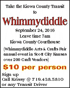 Take the Kiowa County Transit Van to Whimmydiddle
