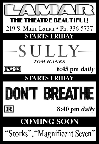 Lamar Theatre Ad - September 23, 2016