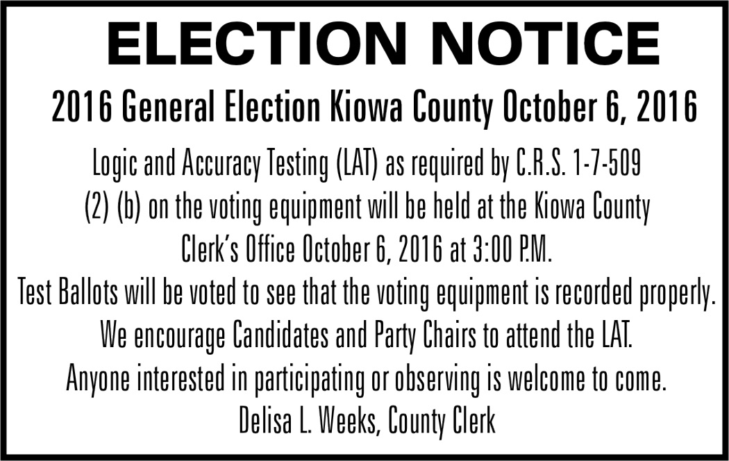 Election Notice - Logic and Accuracy Testing