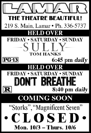 Lamar Theatre Ad - September 30, 2016