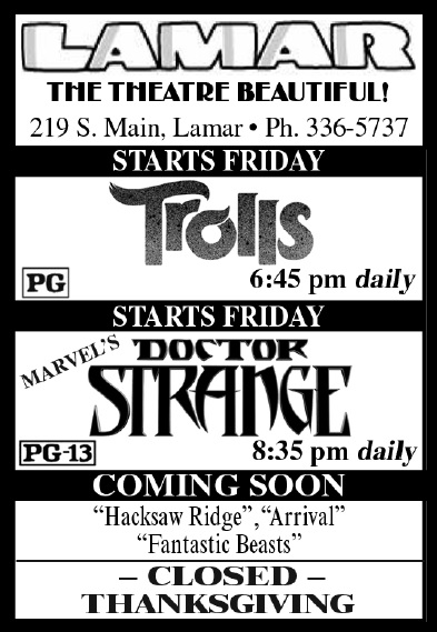 Lamar Theatre Ad - November 18, 2016