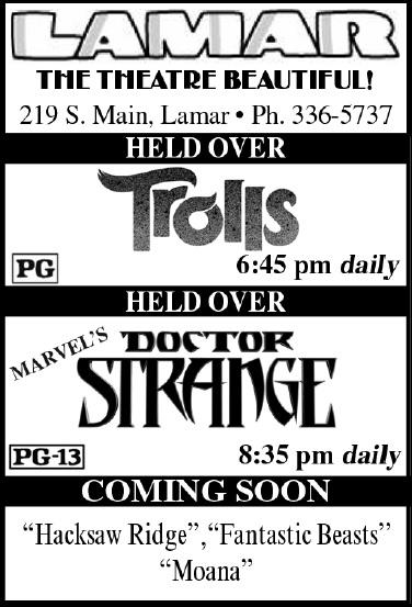 Lamar Theatre Ad - November 25, 2016