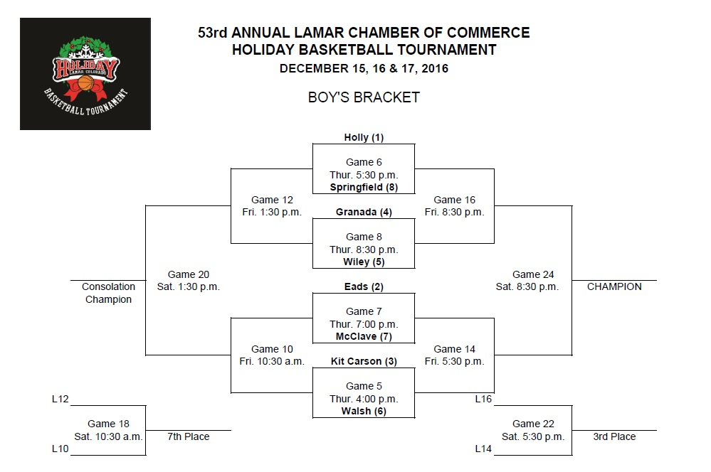 Holiday Basketball Tournament Boys' Bracket