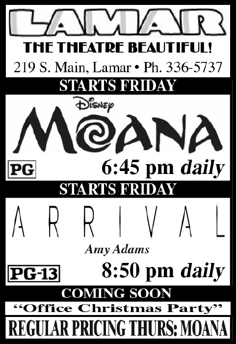 Lamar Theatre Ad - December 16, 2016