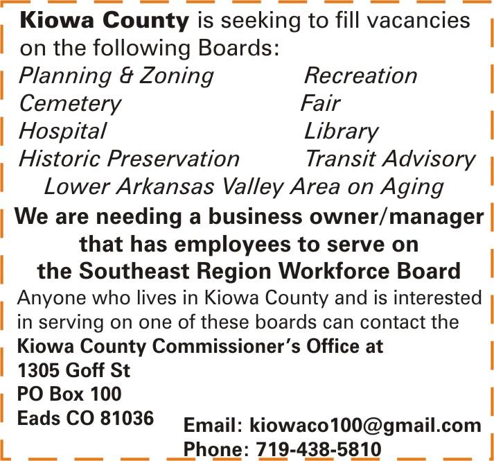 ADV - Kiowa County Seeks Board Members
