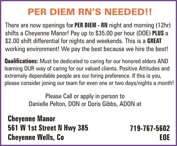 ADV - Cheyenne Manor - Per Diem RN