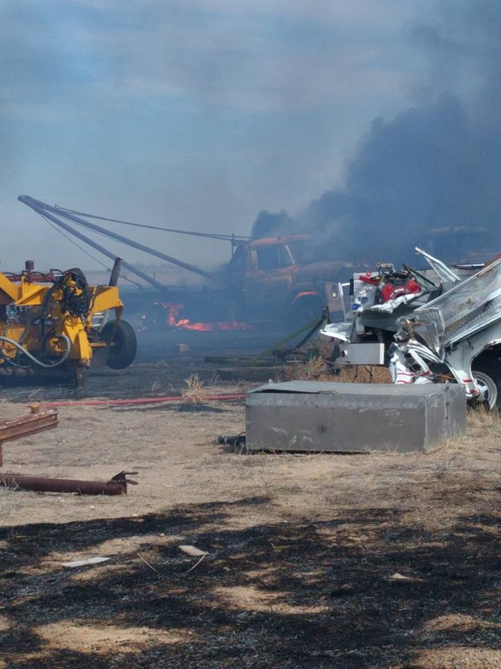 PICT - Grass fire at Kiowa County Shop - KCSO