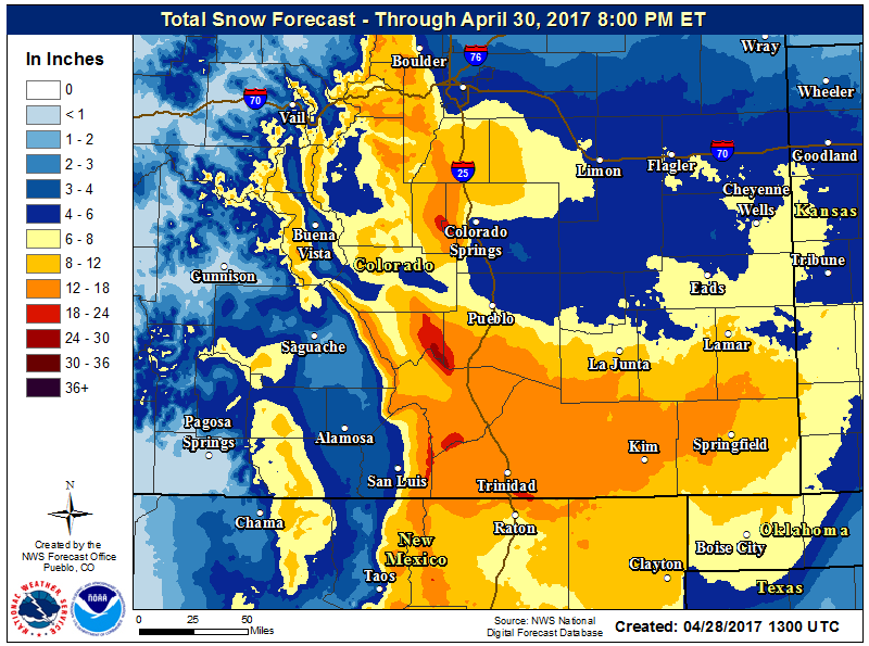 Weather - Snow Accumulation Map 2017-04-28