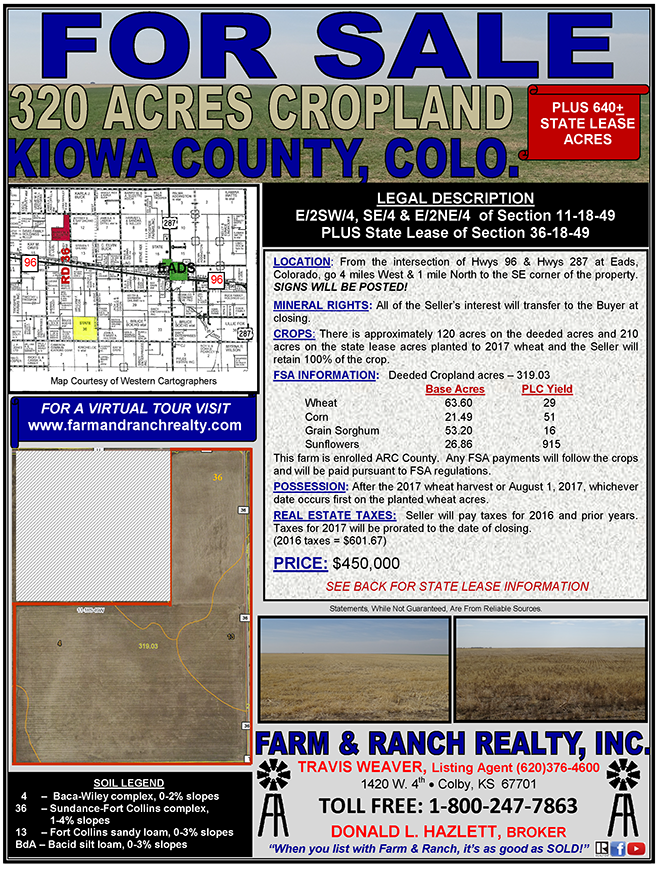 ADV - Farm & Ranch Realty - 320 Acres Cropland - Kiowa County