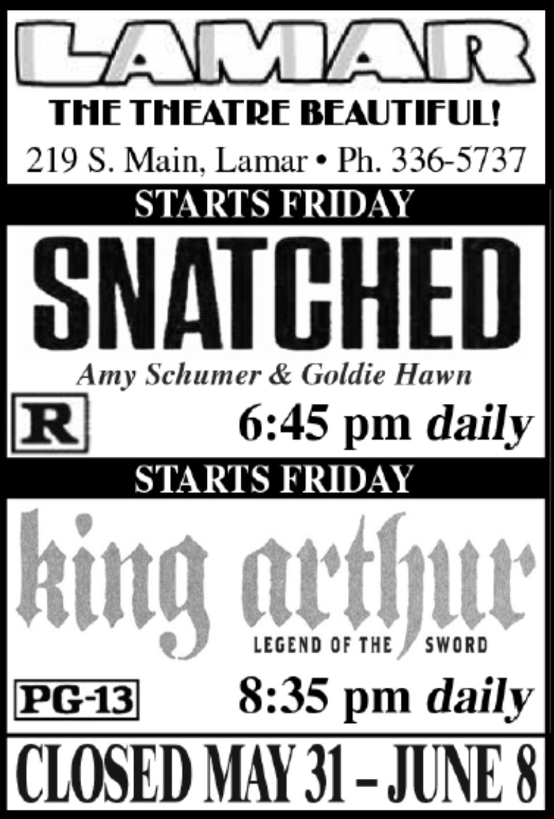 Lamar Theatre Ad - May 26, 2017