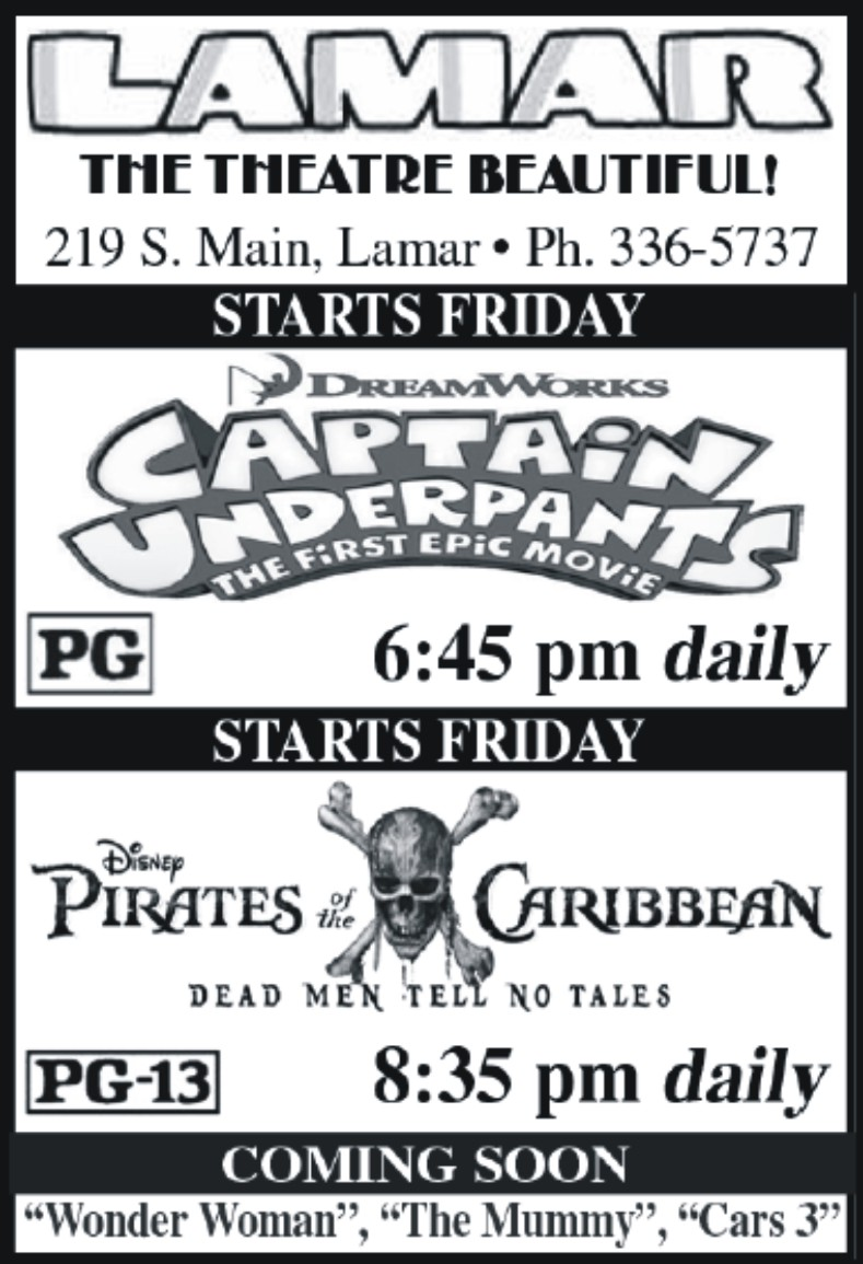 Lamar Theatre Ad - June 16, 2017