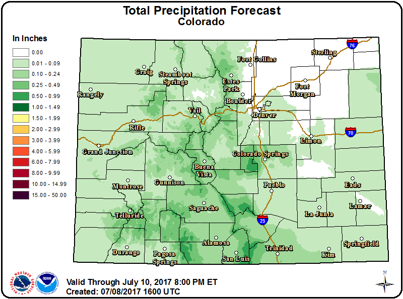 Weather Outlook - July 8, 2017 precipitation forecast