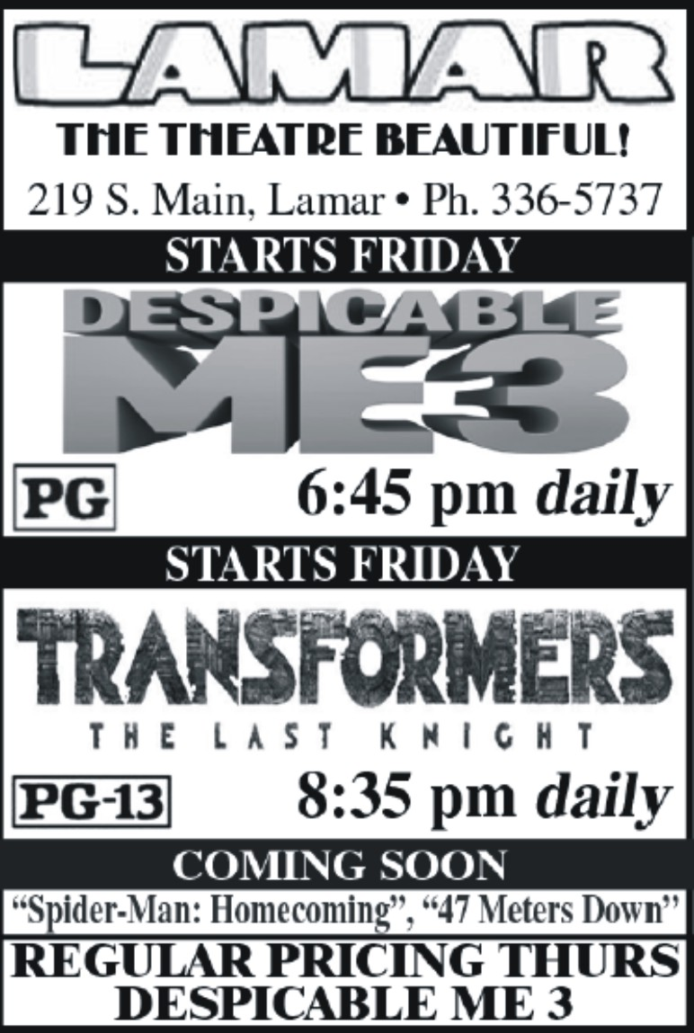 Lamar Theatre Ad - July 14, 2017