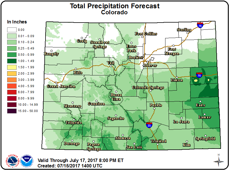 Map - Colorado Precipitation Forecast - July 15, 2017