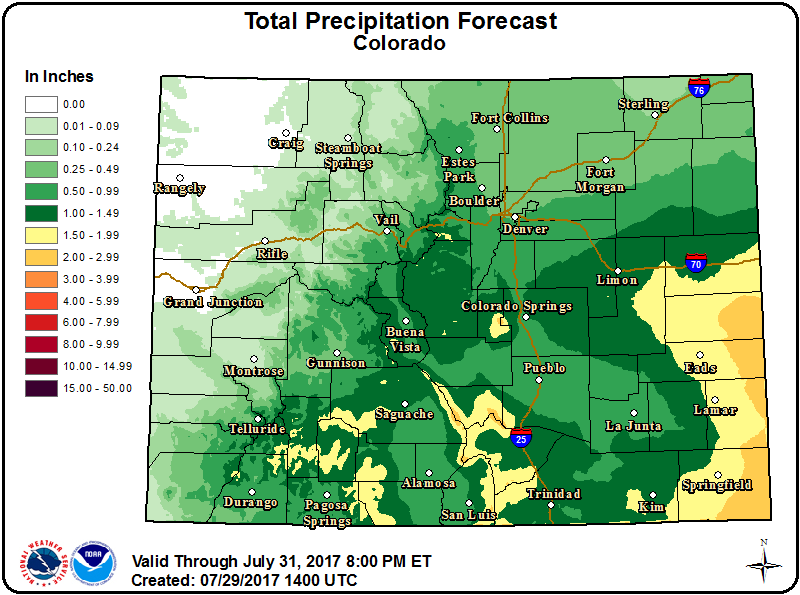Weather Outlook - July 29, 2017 - Colorado Precipitation
