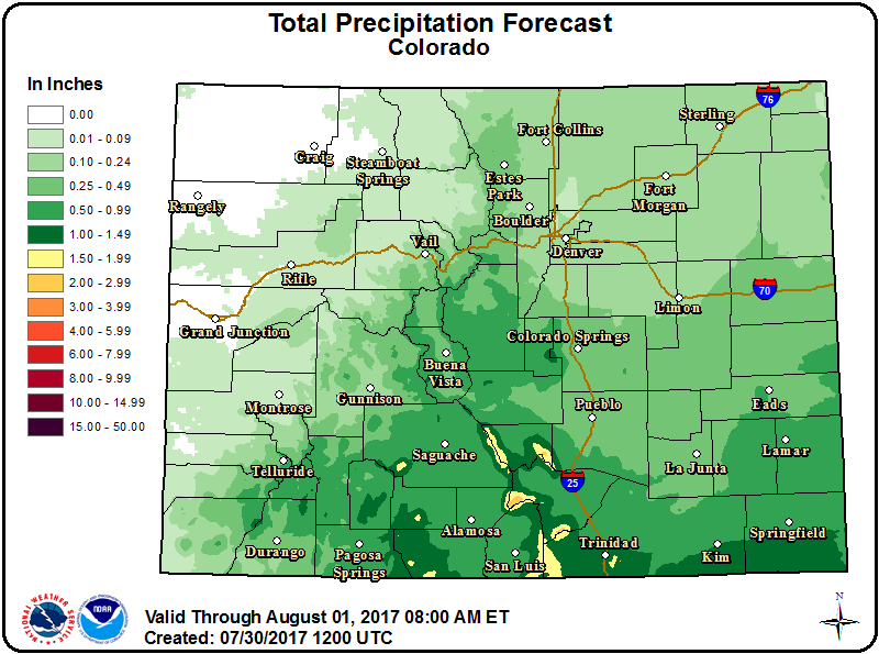 Weather - Colorado Precipitation Outlook July 30, 2017