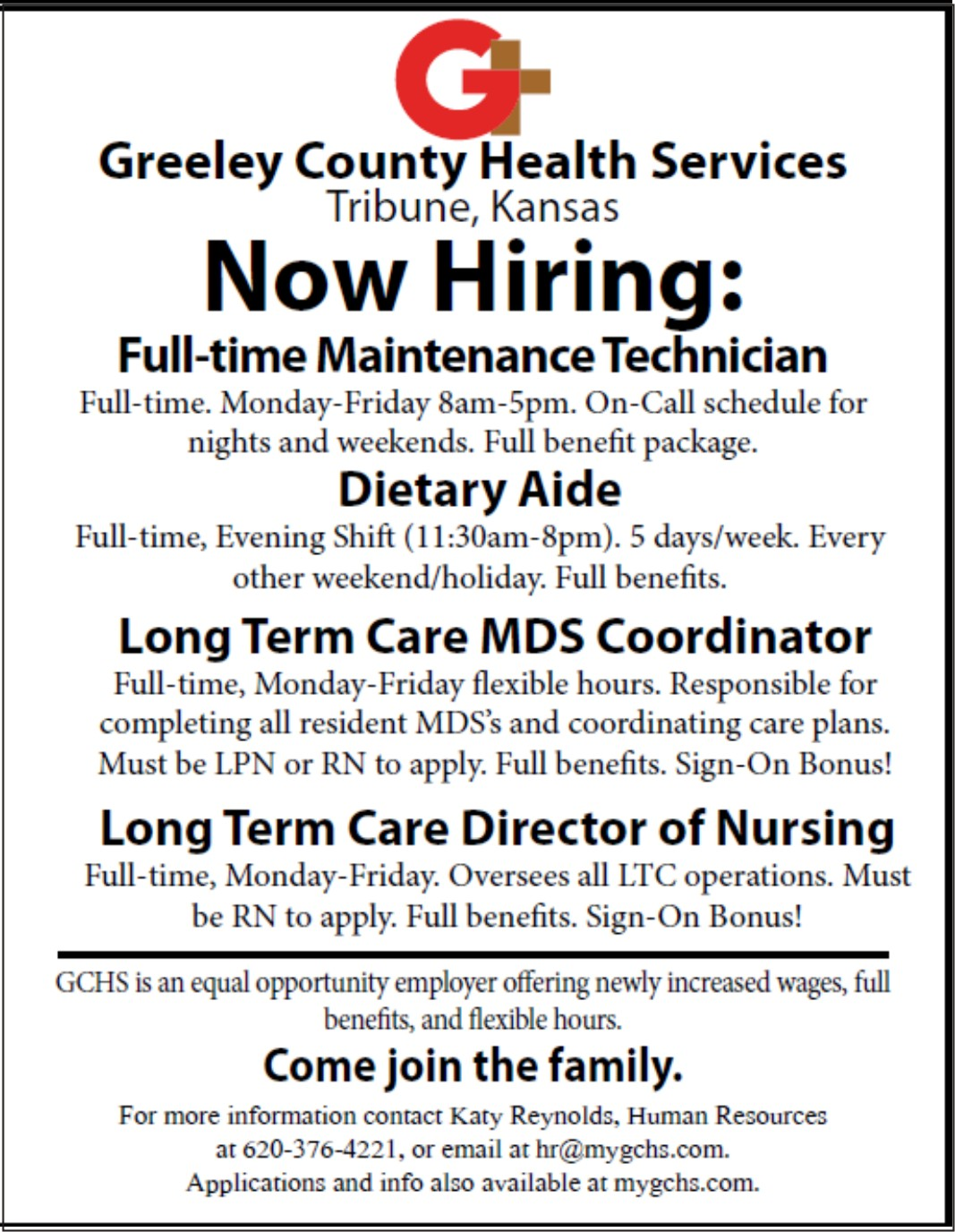 ADV - Greeley County Health Services - Now Hiring - August 11, 2017