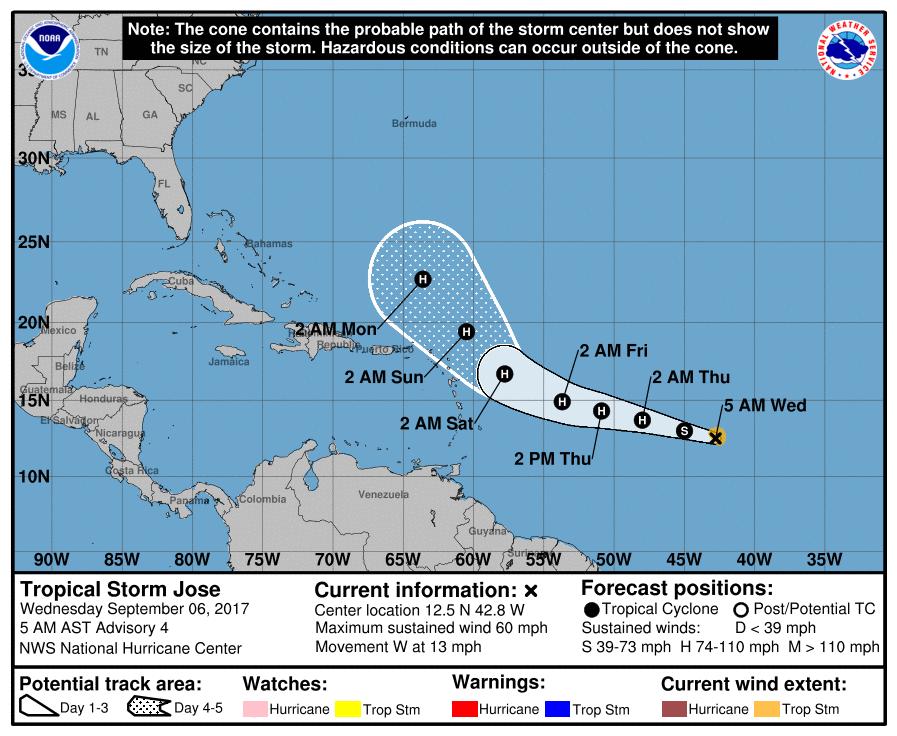MAP - Tropical Storm Jose Path - September 6, 2017