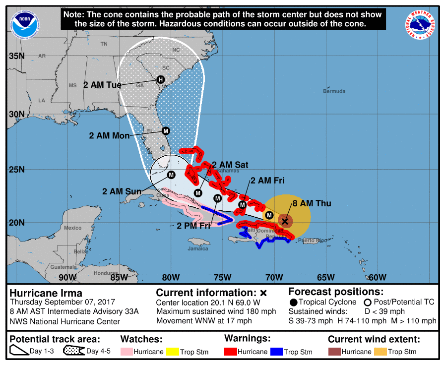 MAP Hurricane Irma Wind Speed September 7, 2017