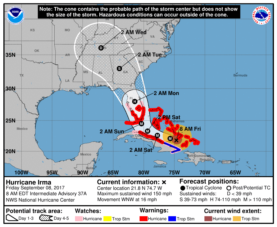 MAP Hurricane Irma Track September 8, 2017