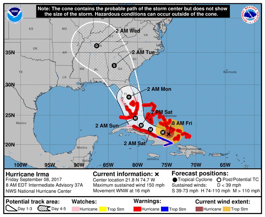MAP Hurricane Irma Track September 8, 2017