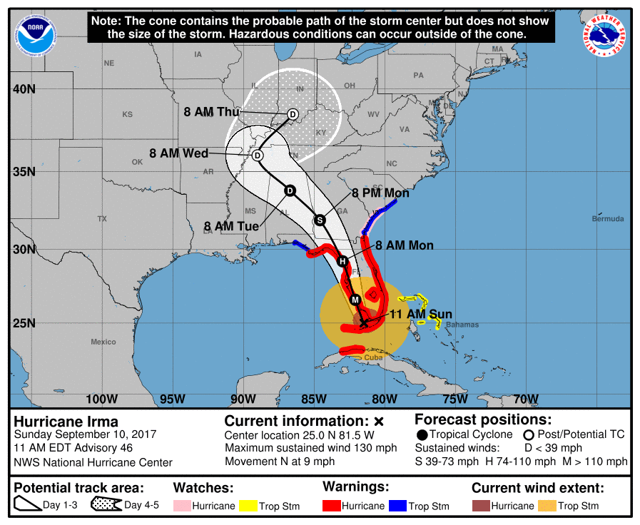 MAP Hurricane Irma Storm Track - September 10, 2017