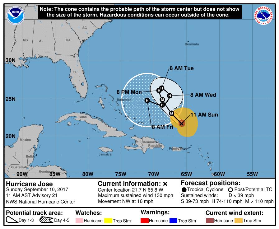 MAP Hurricane Jose Storm Track - September 10, 2017