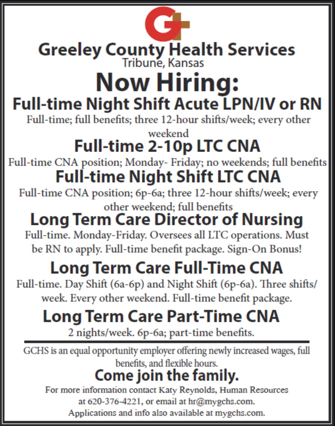 ADV - Greeley County Health Services - Now Hiring - September 8, 2017
