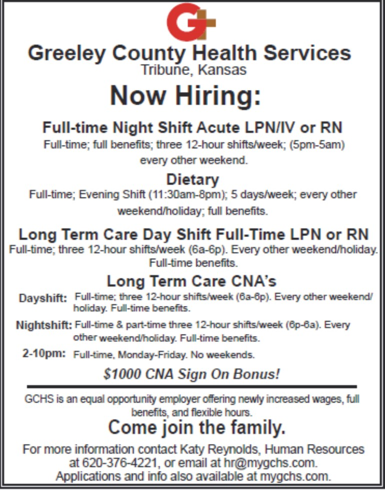 ADV - Greeley County Health Services - Now Hiring - October 13, 2017