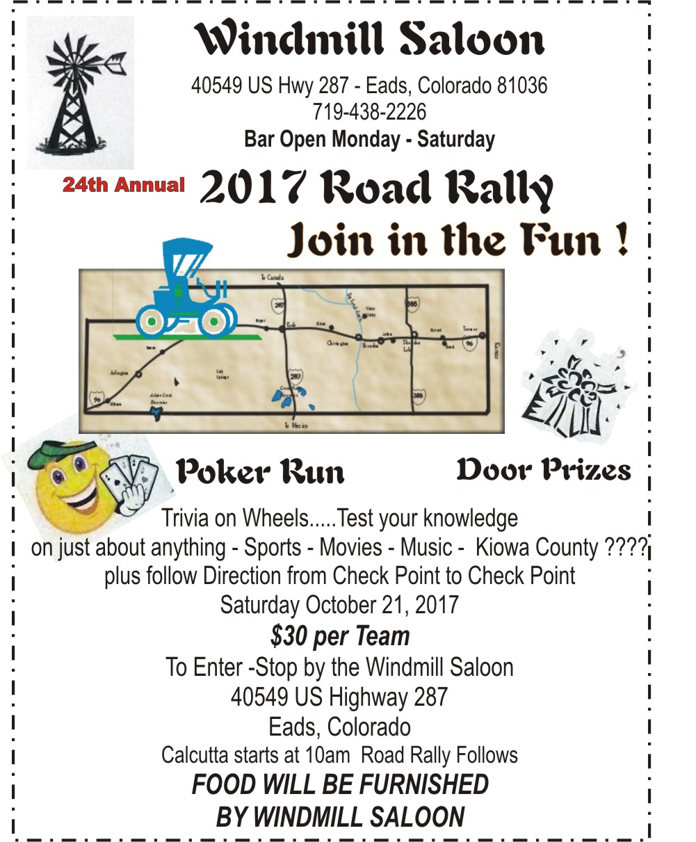 ADV - Sign up for the 2017 Kiowa County Road Rally