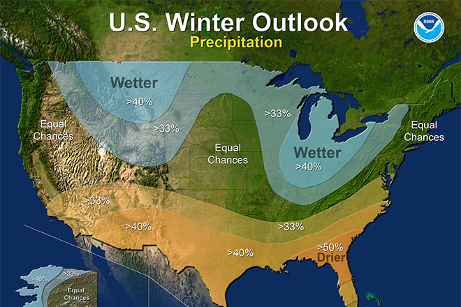 Wetter And Warmer: NOAA Issues Winter Weather Forecast