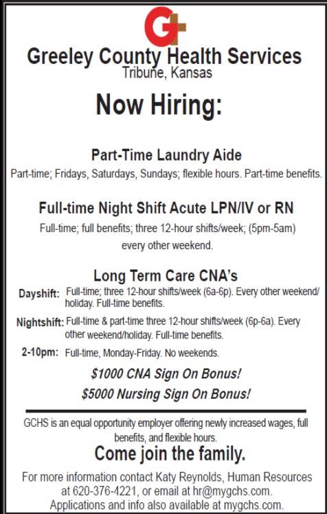 ADV - Greeley County Health Services - Now Hiring - November 10, 2017