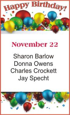 Happy Birthday to Barlow Owens Crockett Specht
