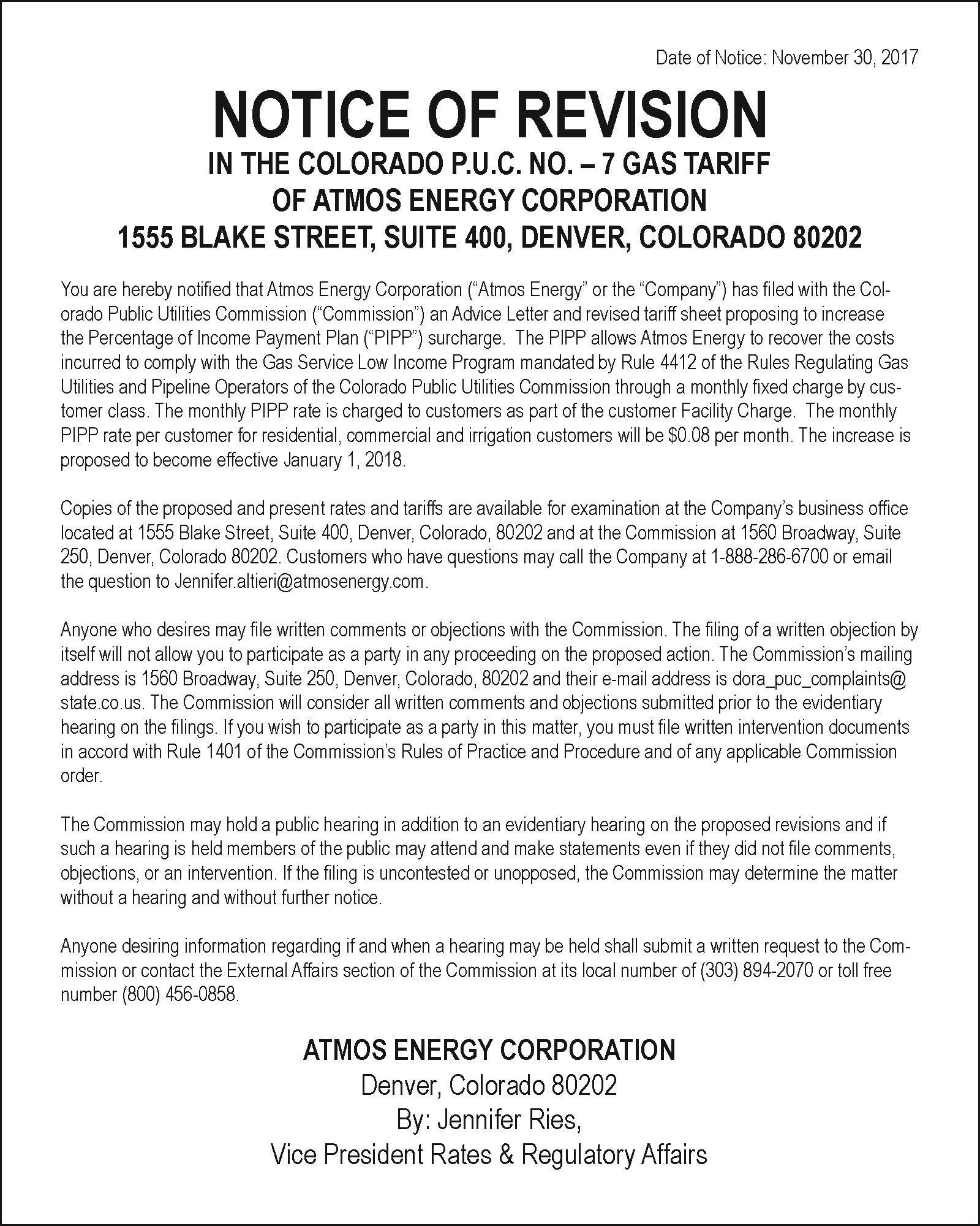 LEGAL - Atmos Energy December 8, 2017
