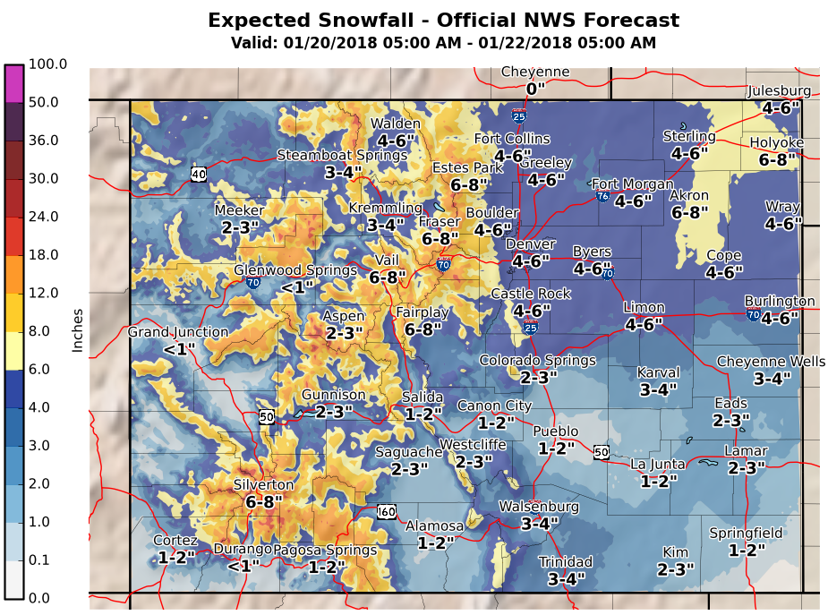 MAP Weekend Snowfall Colorado - January 20-21, 2018
