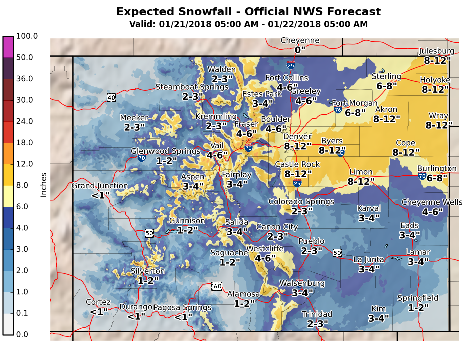 MAP Snowfall Colorado January 21, 2018