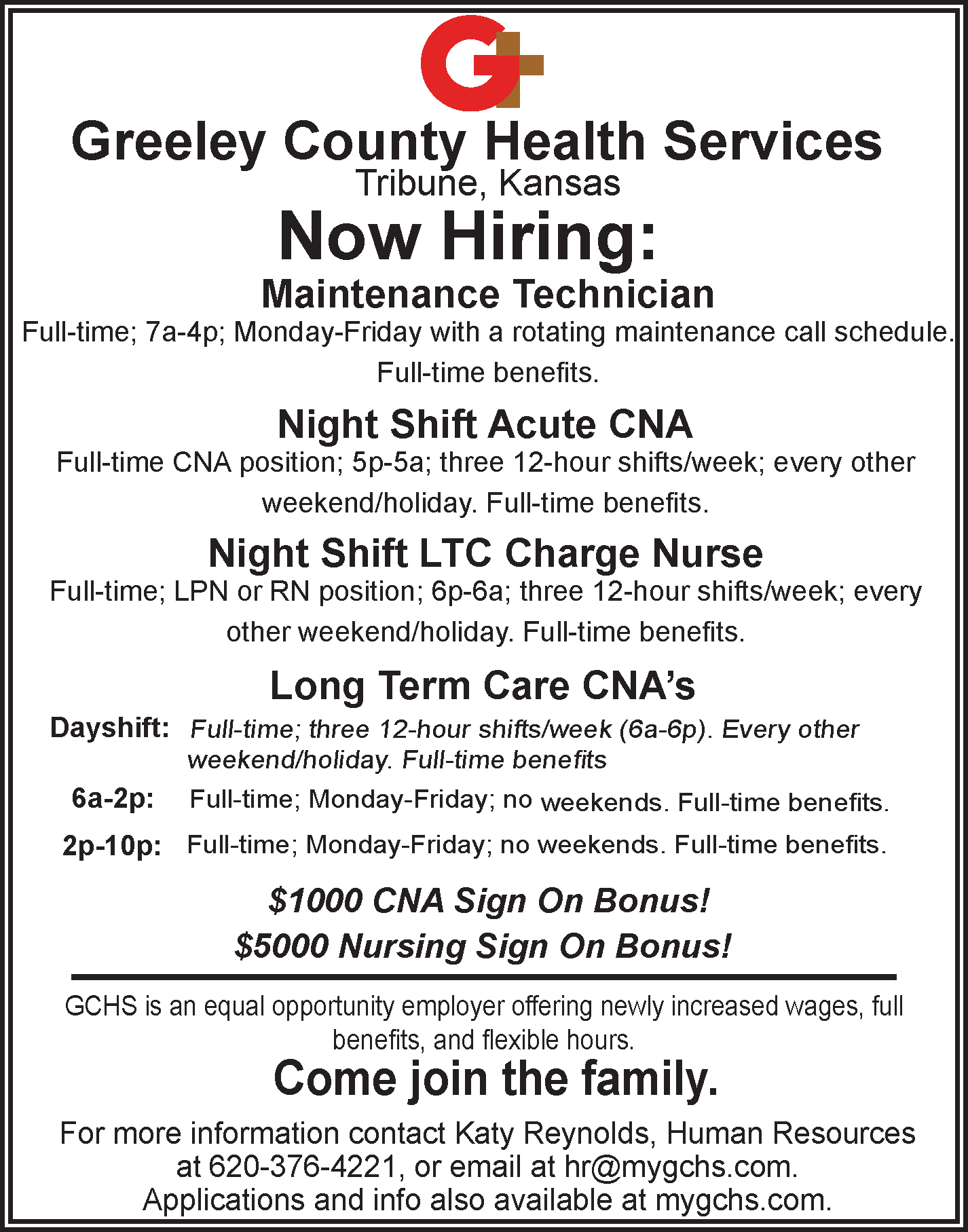 ADV - Greeley County Health Services - Now Hiring - February 9, 2018