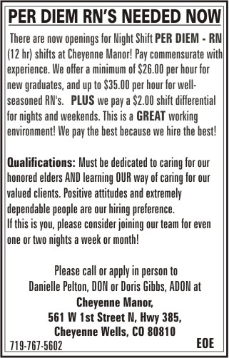Help Wanted - Cheyenne Manor - February 16 - March 15, 2018