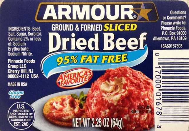 PICT Armour Ground and Formed Sliced Dried Beef Label - USDA