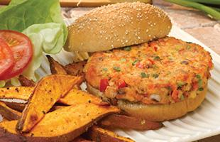 PICT RECIPE Sweet Potato Fries Salmon Burger - MyPlate