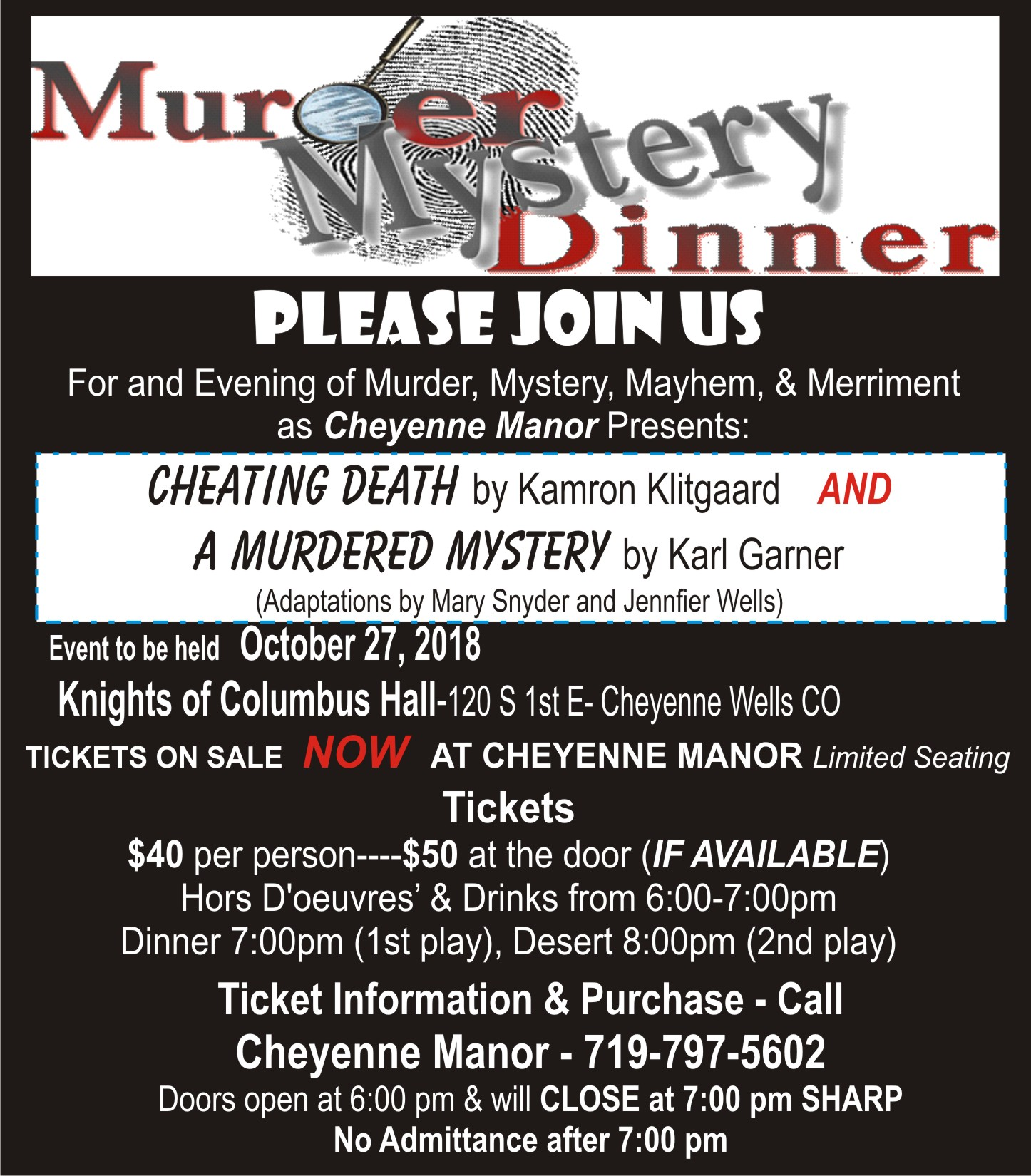 AD 2018 Murder Mystery Dinner at Cheyenne Manor