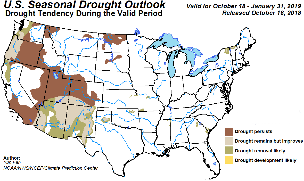 MAP Drought Outlook - October 2018 - January 2019