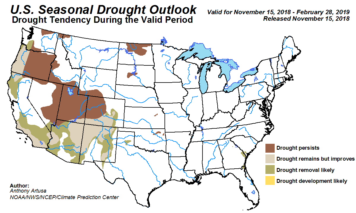 MAP National three-month drought outlook - November 15, 2018