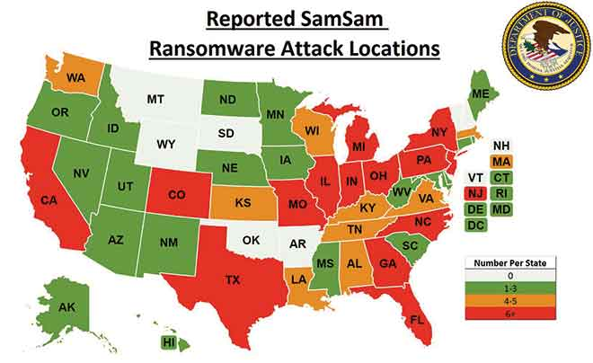 MAP samsam ransomware victim locations - FBI