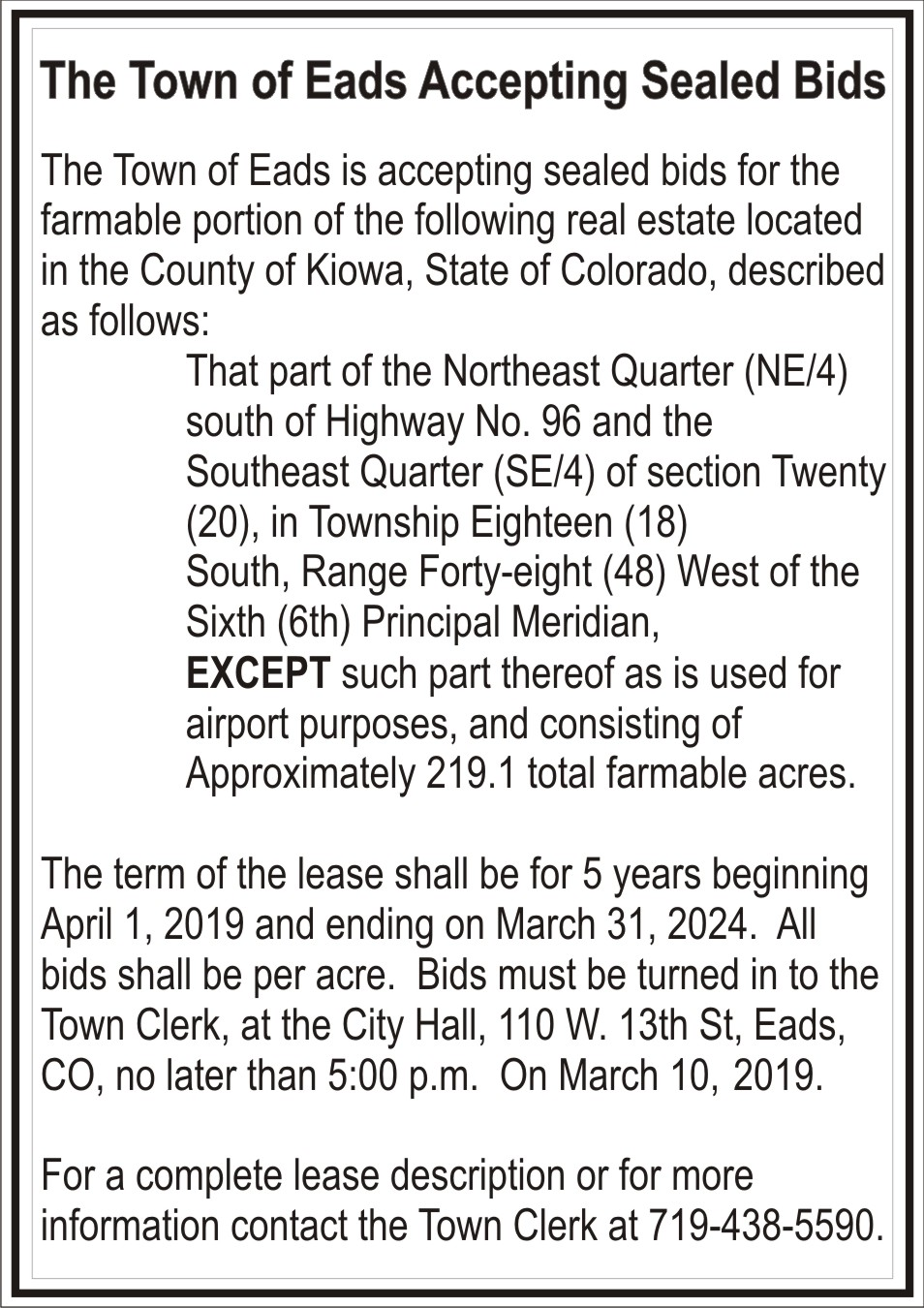 AD 2019 Town of Eads - Accepting Bids